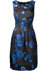 Lela Rose  Floral Organza Dress - Lyst