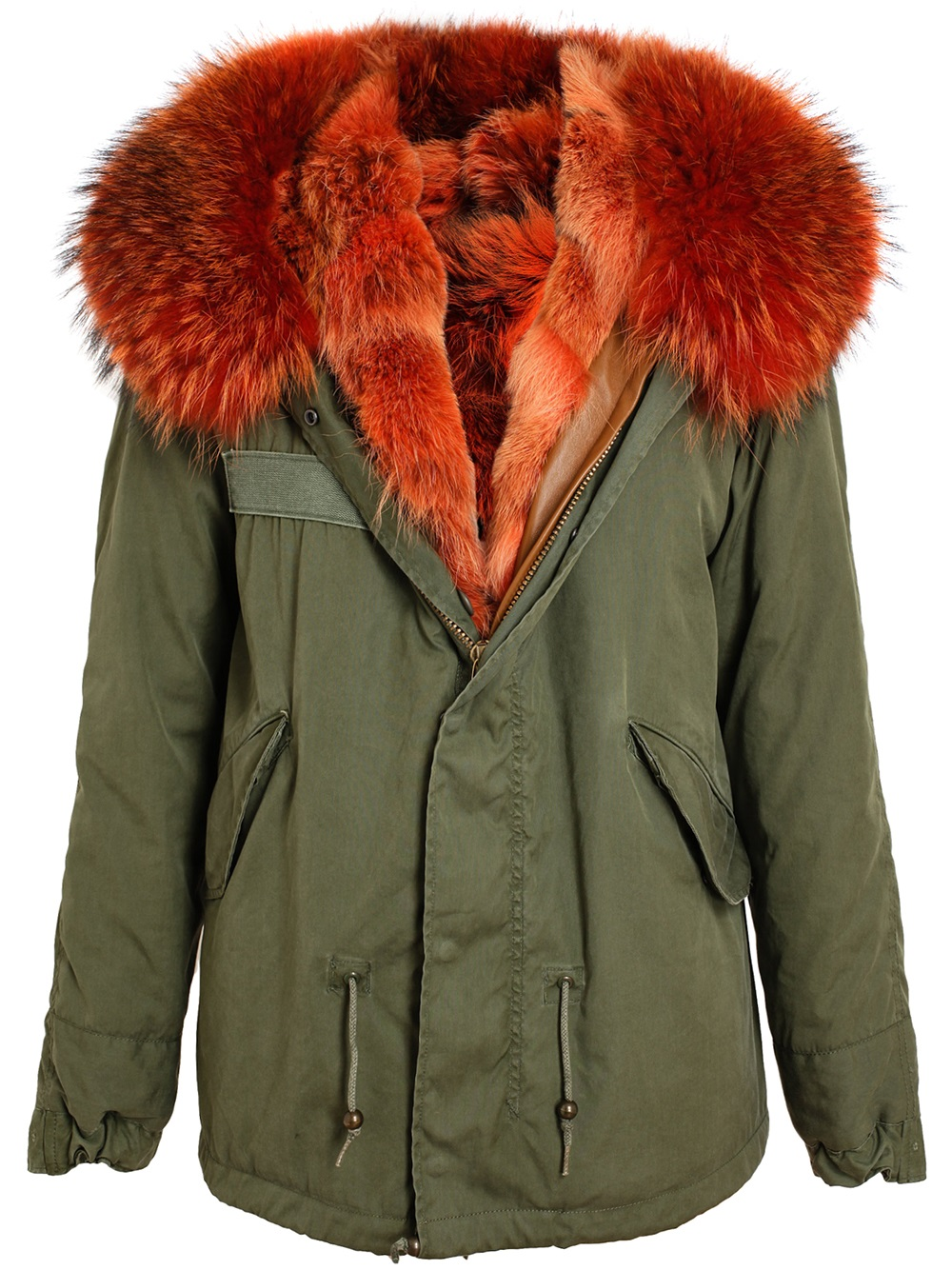 Green Parka With Red Fur Covu Clothing