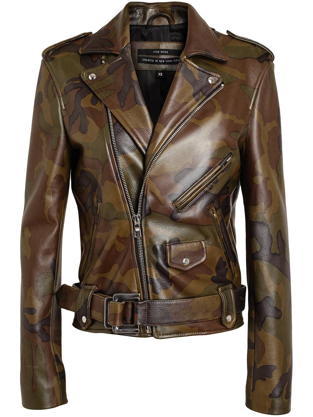 Lyst - Pyer Moss Pyer Moss Camouflage Leather Biker Jacket