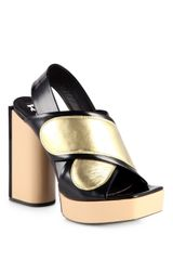 Rochas Metallic Leather Crisscross Platform Sandals - Lyst