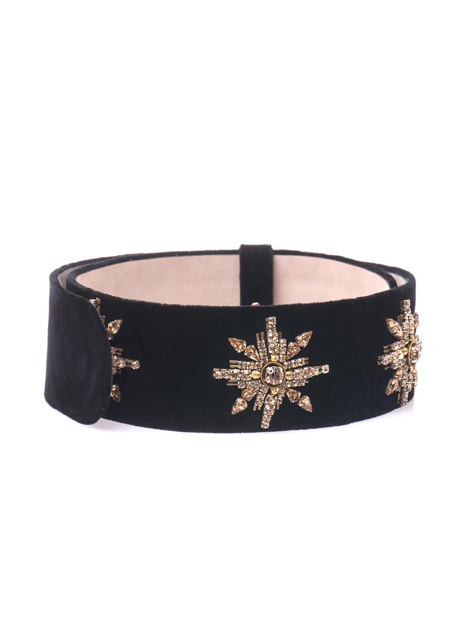 Embellished suede belt Alexander McQueen NGeCr