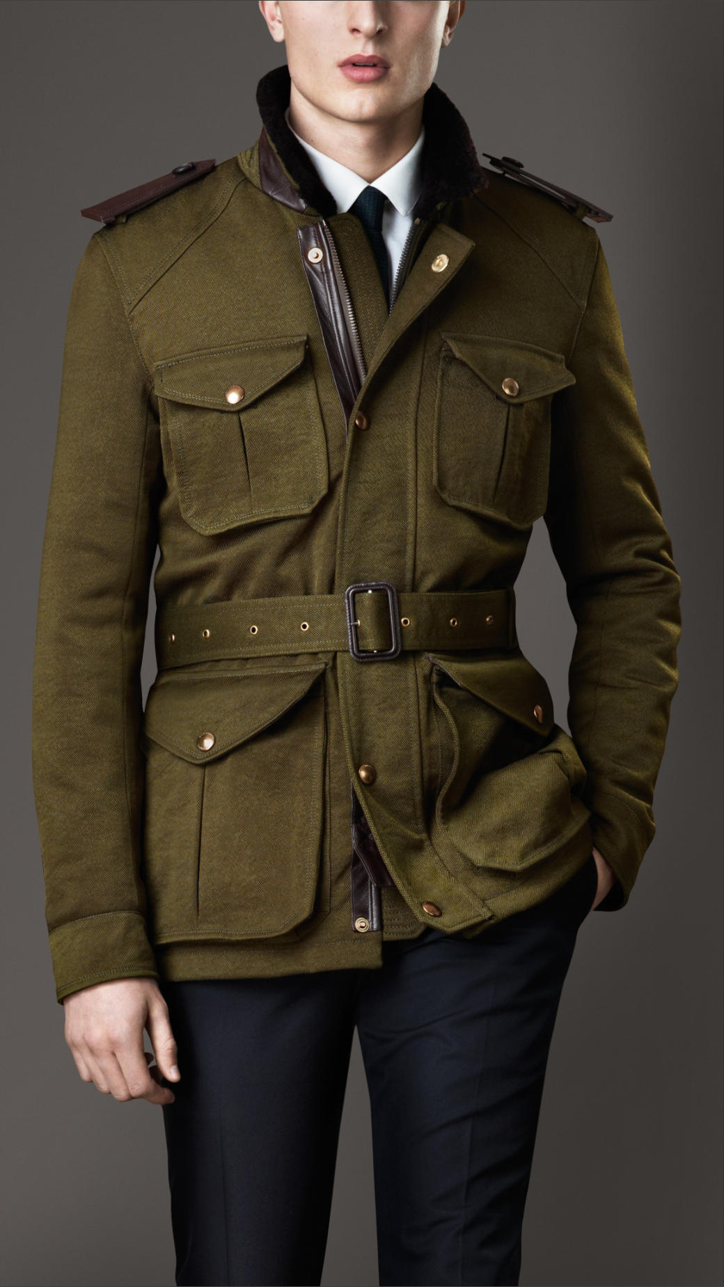 Burberry Shearling Collar Field Jacket With Warmer In
