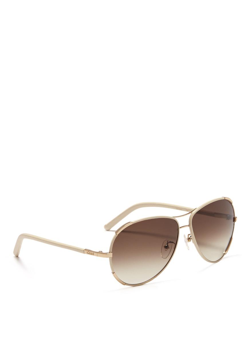 Chloe Aviator Sunglasses  chloé leather trim aviator sunglasses in white lyst