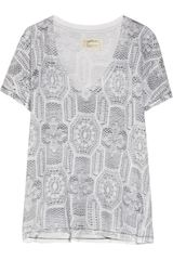 Current/Elliott The V Neck Printed Cotton Jersey Tshirt - Lyst