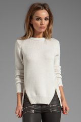 Cut25 Crewneck Side Zipper Sweater in Beige - Lyst