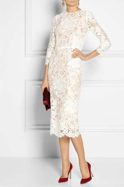 Dolce Amp Gabbana Lace And Silk Organza Midi Dress In White