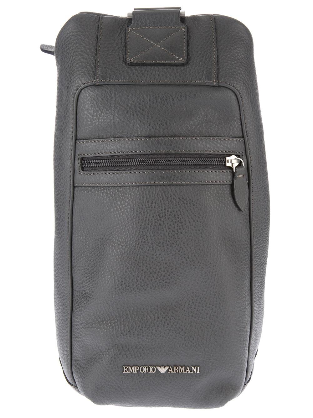 Lyst - Emporio Armani Leather Shoulder Bag in Gray for Men b12f44de6fff3