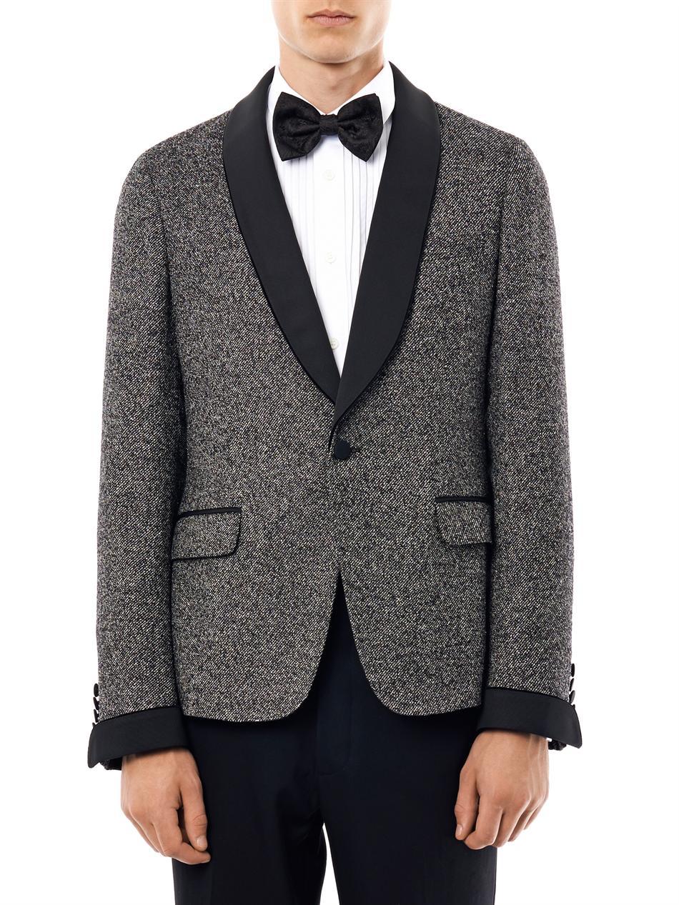 Gucci Satin Lapel Tweed Tuxedo Jacket In Gray For Men Lyst