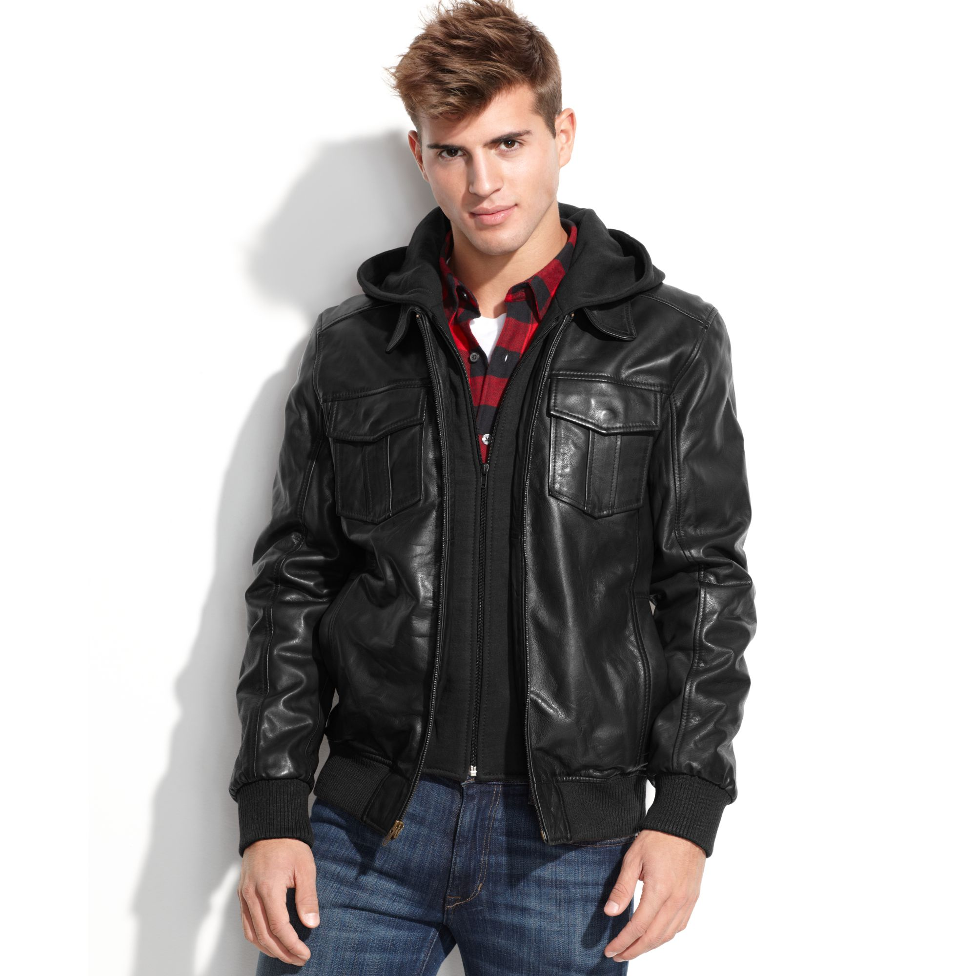 Guess Jacket Fleece Hood Leather Bomber in Black for Men | Lyst