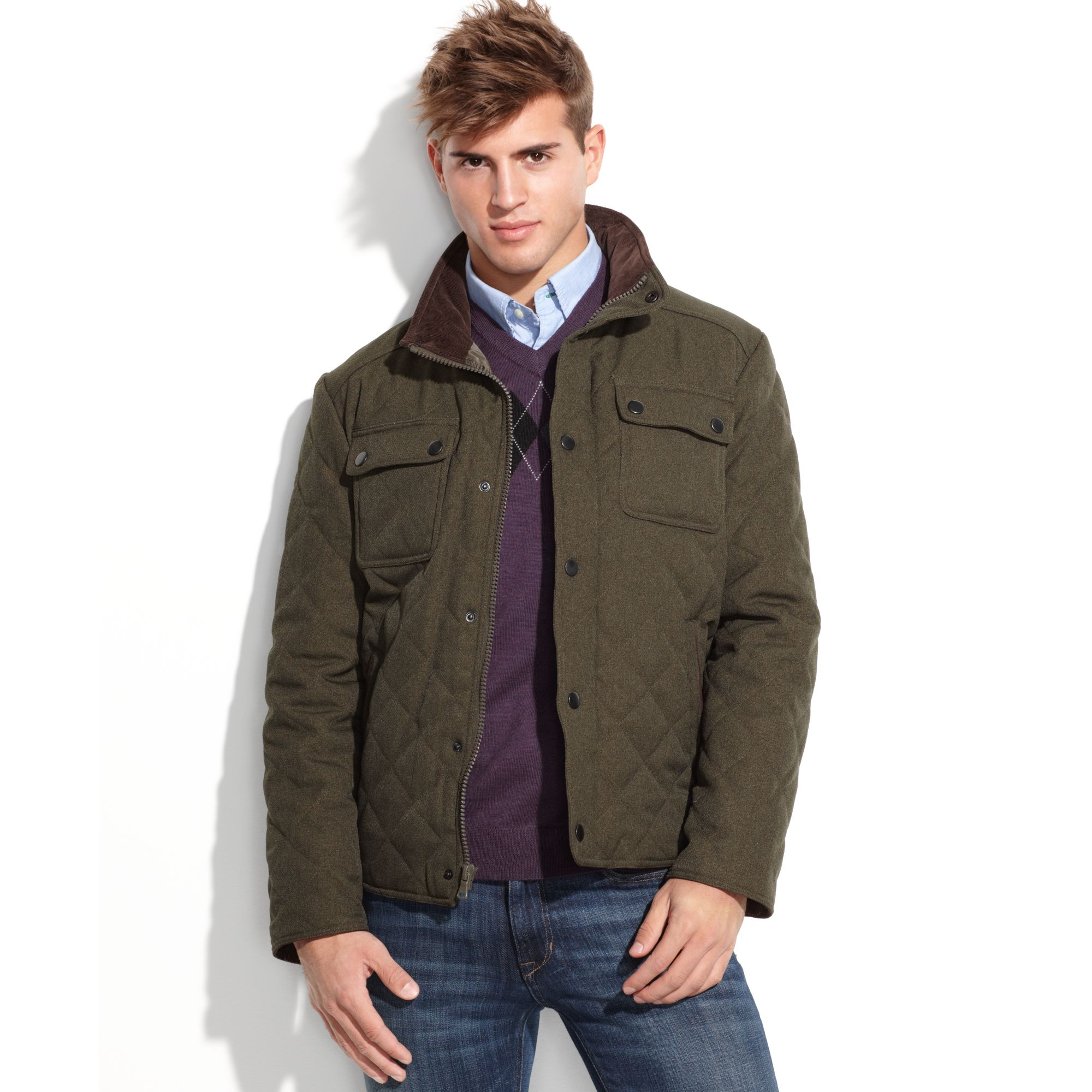 Kenneth cole Diamond Quilted Jacket in Green for Men | Lyst