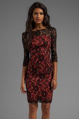 Milly Floral Scalloped Lace Stella Dress in Black - Lyst