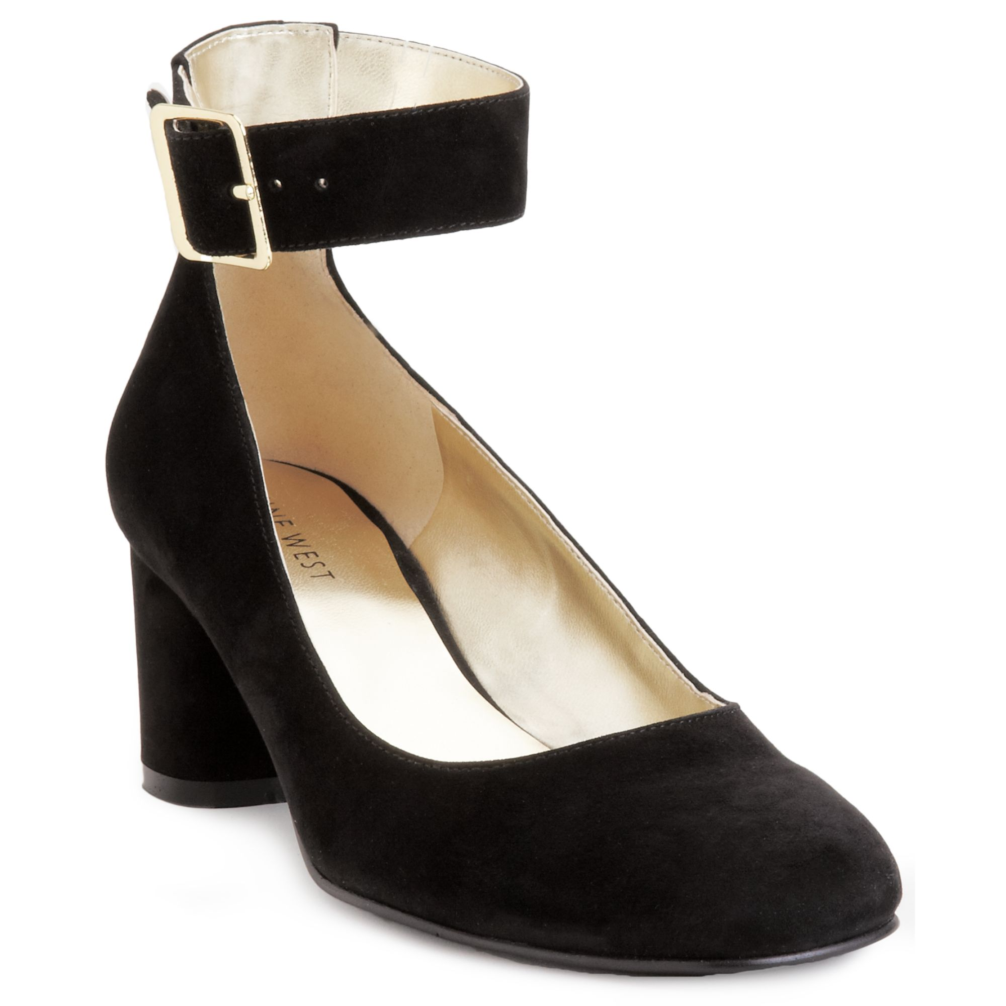 Nine west Servina Ankle Strap Mid Heel Pumps in Black | Lyst