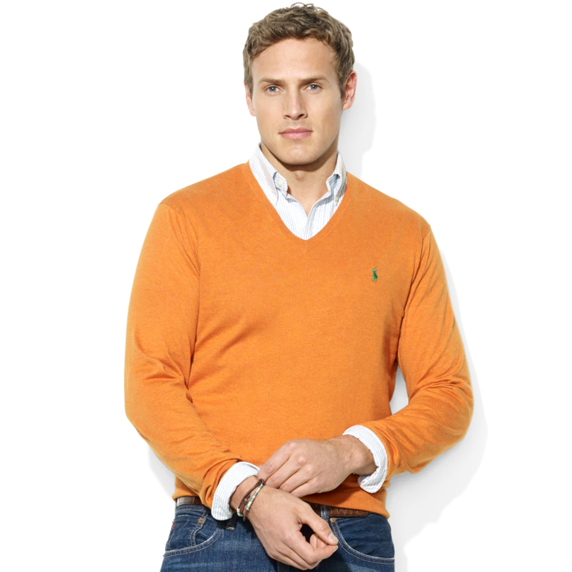 Ralph lauren V neck Pima Cotton Sweater in Orange for Men | Lyst