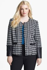 Sejour Houndstooth Mixed Media Jacket - Lyst