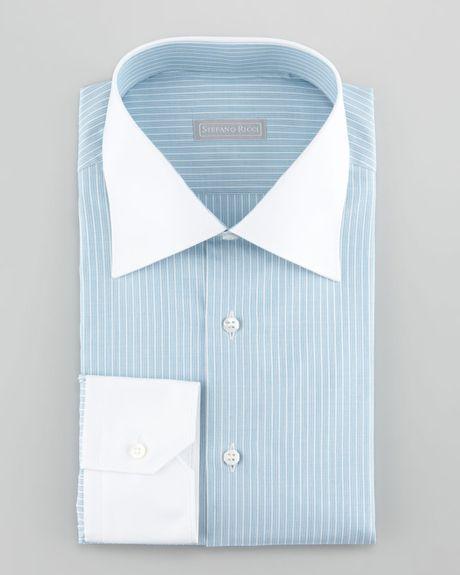 Stefano Ricci Contrastcollar 3row Stripe Dress Shirt Aqua