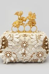 Alexander McQueen Embroidered Cherub Knuckle Duster Clutch Ivory - Lyst