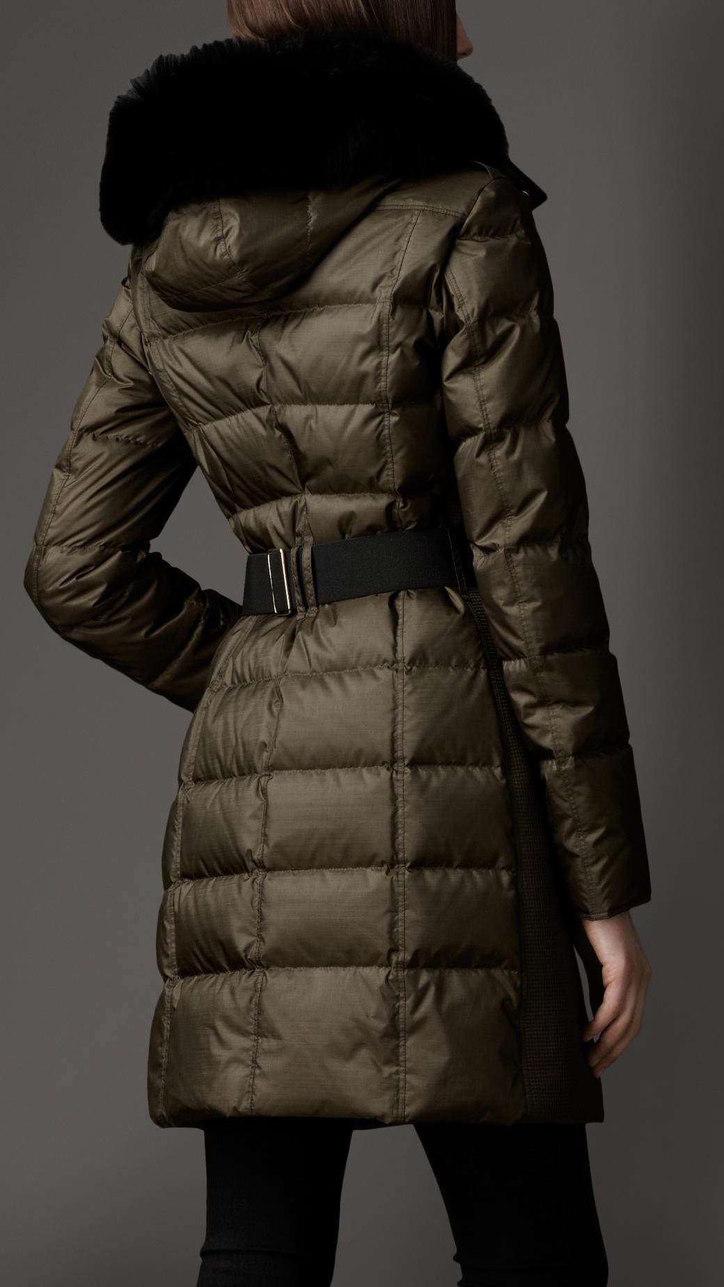 Burberry Fur Trim Puffer Coat In Green Lyst