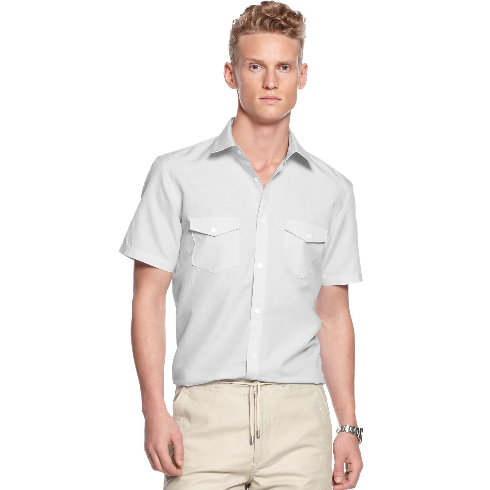 Calvin Klein Short Sleeve Button Down Linen Chambray Shirt