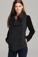 DKNY Asymmetric Button Front Jacket with Knit Sleeves - Lyst