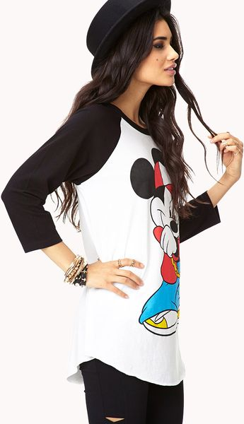 21 Mickey Mouse Nail Art Designs Ideas: Forever 21 Cool Mickey Mouse Raglan Top In White (Black