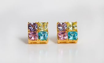 Fortune Favors The Brave Pastel Color Block Studs - Lyst