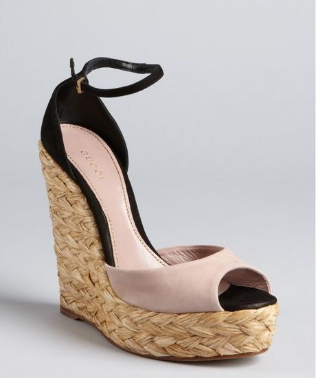 gucci blush and black suede woven jute peep toe platform