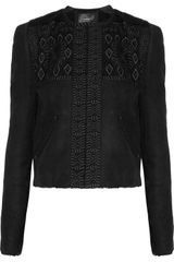 Isabel Marant Embroidered Shearling Jacket in Black - Lyst