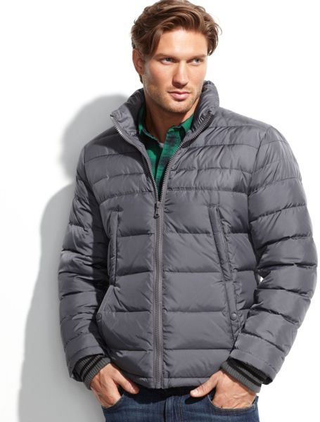 Kenneth Cole Down Puffer Jacket In Silver For Men Lyst