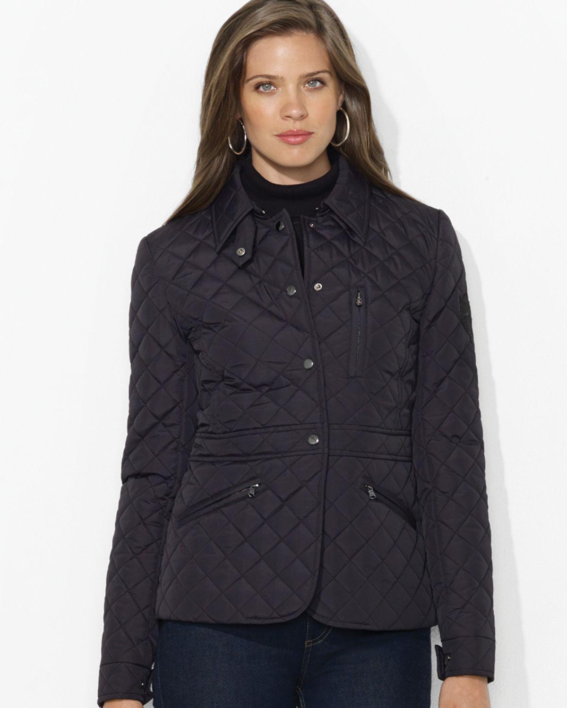 ralph lauren lauren quilted jacket in black lyst. Black Bedroom Furniture Sets. Home Design Ideas
