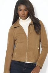 Lauren by Ralph Lauren Cropped Suede Jacket - Lyst