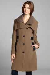 Mackage Taupe Wool and Ribbed Knit Button Up Three Quarter Length Nola Coat - Lyst