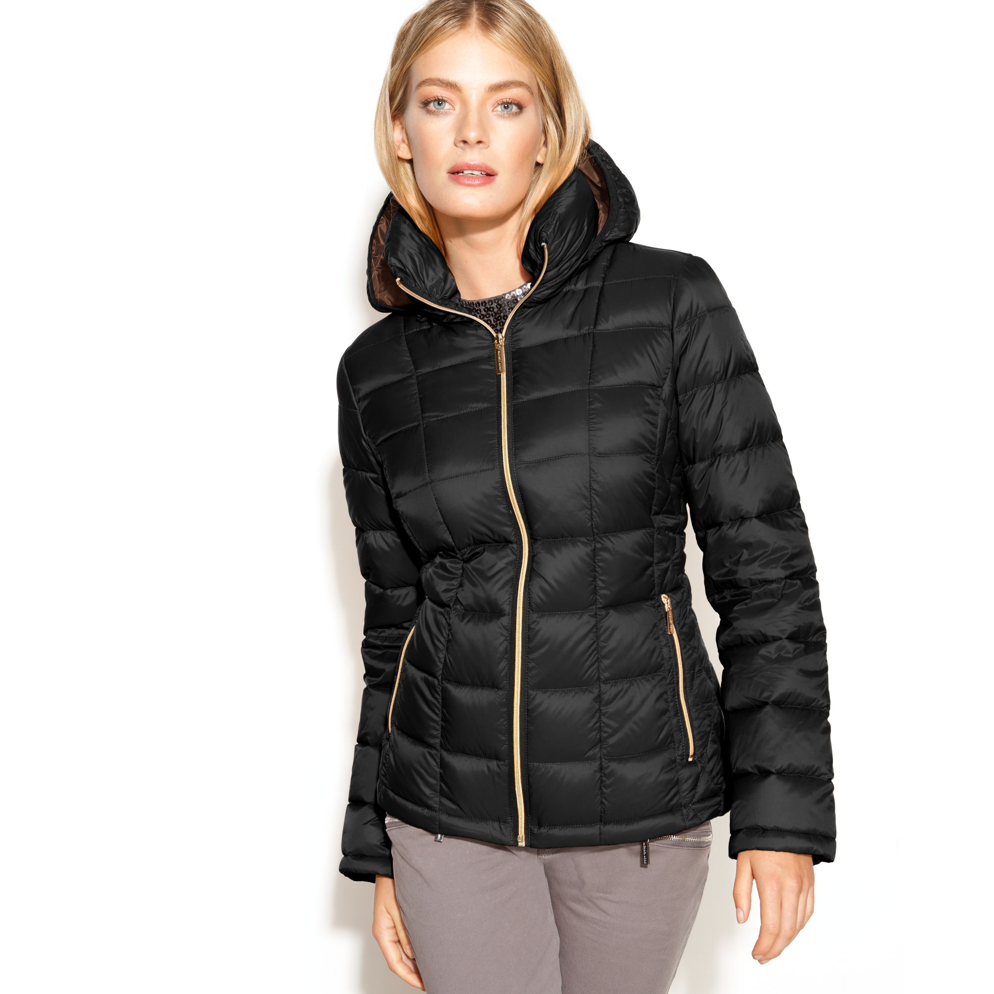 lyst michael kors michael hooded quilted down packable puffer coat in black. Black Bedroom Furniture Sets. Home Design Ideas