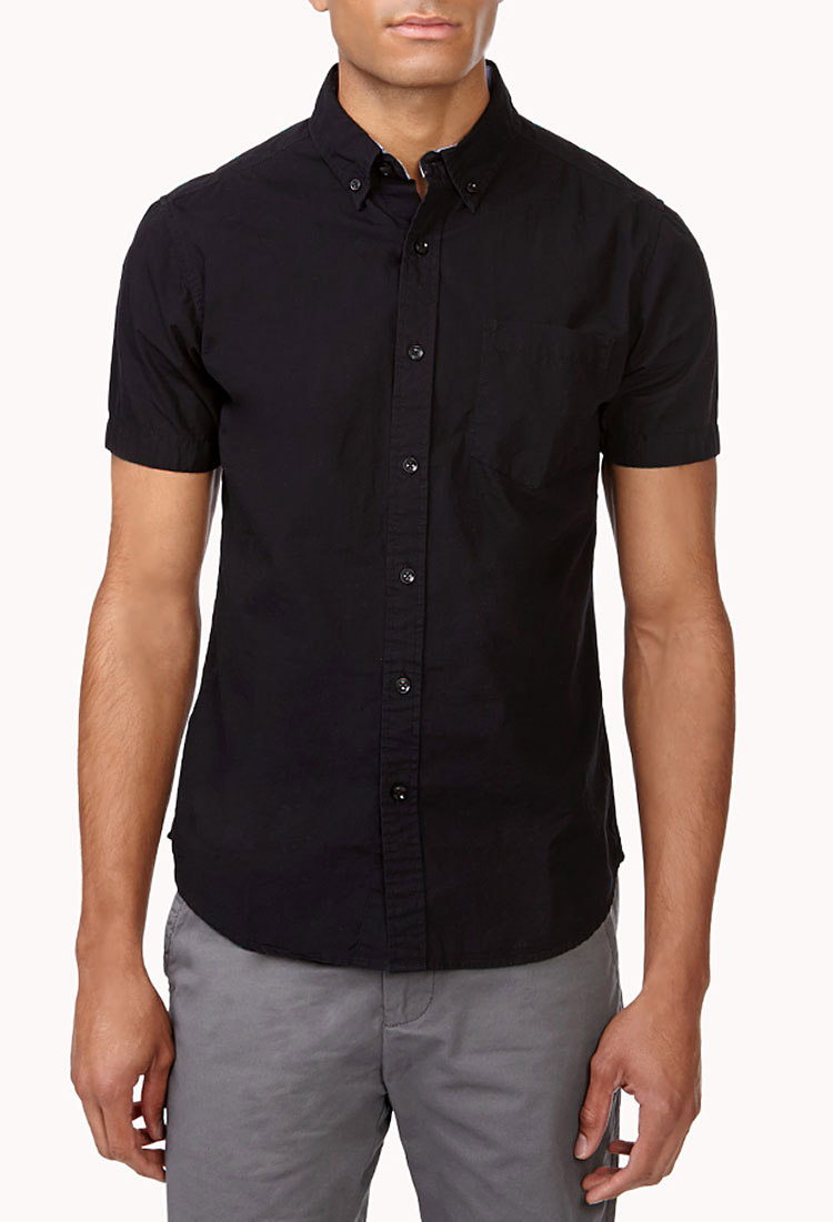 Forever 21 Slim Fit Short Sleeve Button Down in Black for Men | Lyst