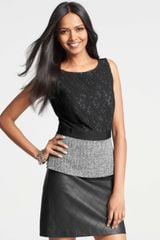 Ann Taylor Lace and Tweed Peplum Top - Lyst
