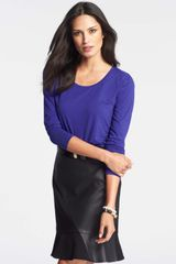 Ann Taylor Cotton Modal Scoop Neck Long Sleeve Tee - Lyst