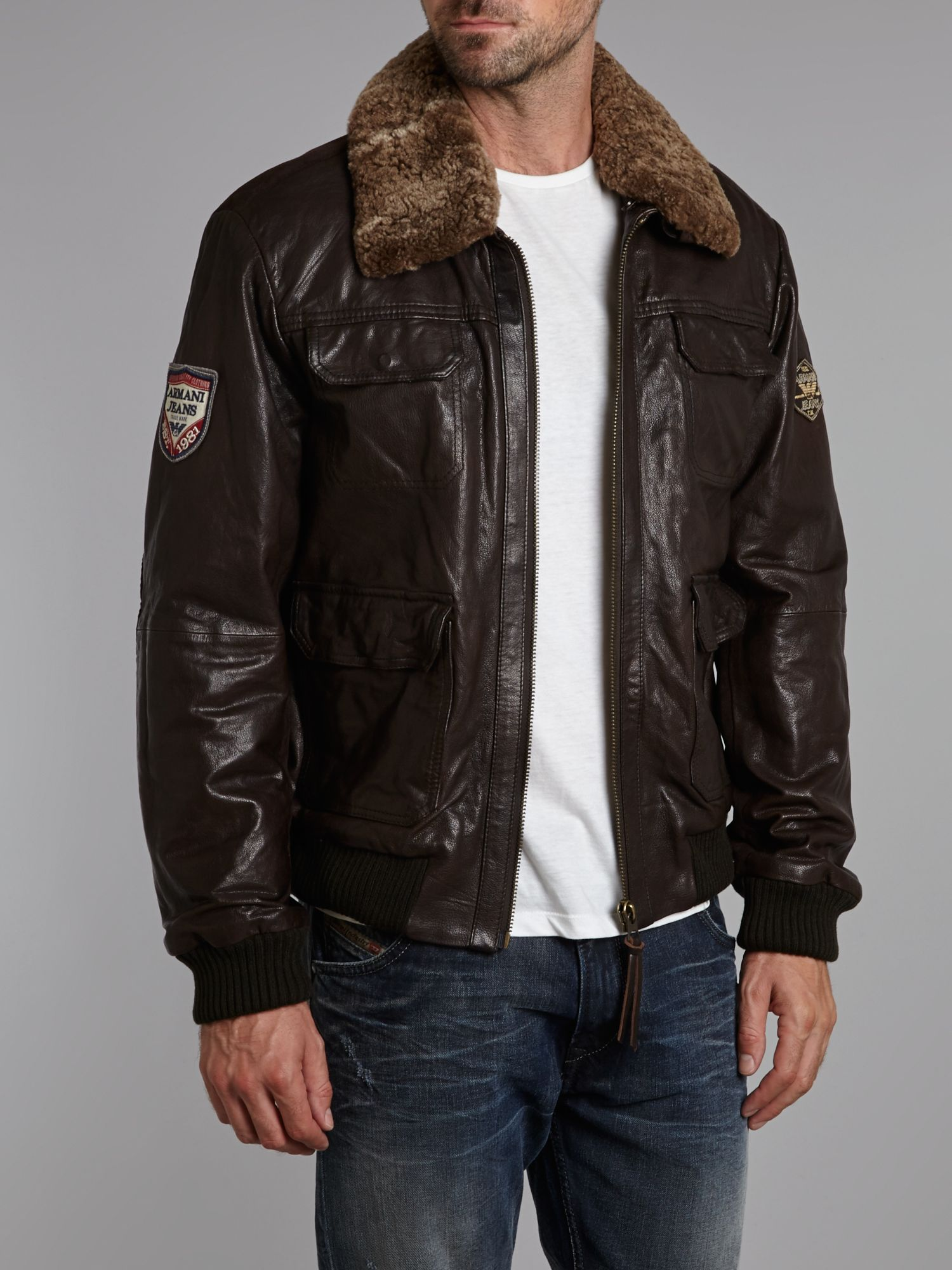 Armani jeans Leather Flight Jacket in Brown for Men | Lyst