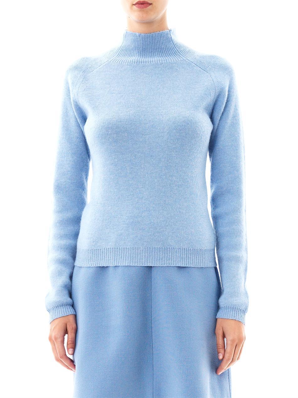 Carven Turtleneck Wool Sweater in Blue | Lyst