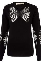 Christopher Kane Black Lace Detail Cashmere Jumper - Lyst