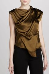 Donna Karan New York Sleeveless Draped Top Brass - Lyst