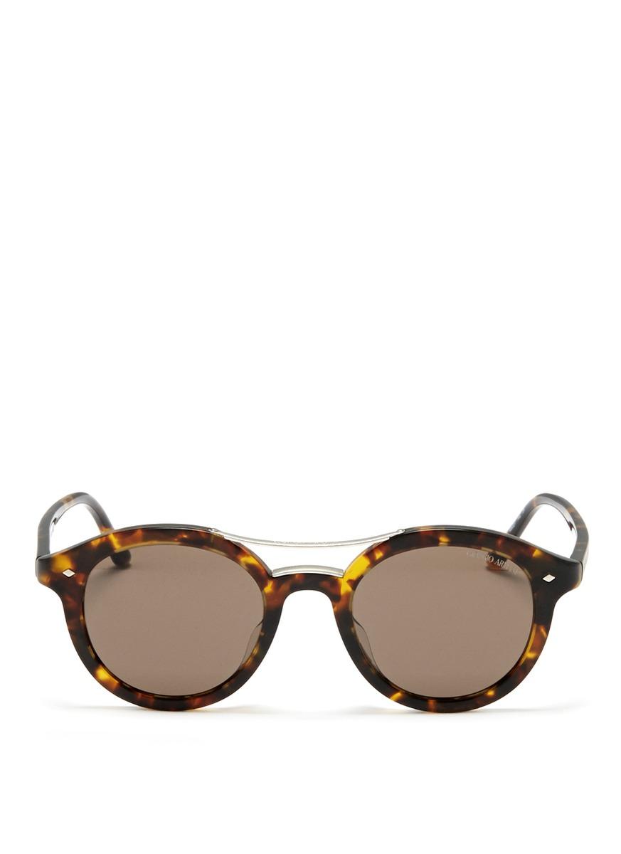 Giorgio Armani Tortoise Shell Round Sunglasses in Brown ...