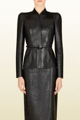 Gucci Black Leather Belted Jacket - Lyst