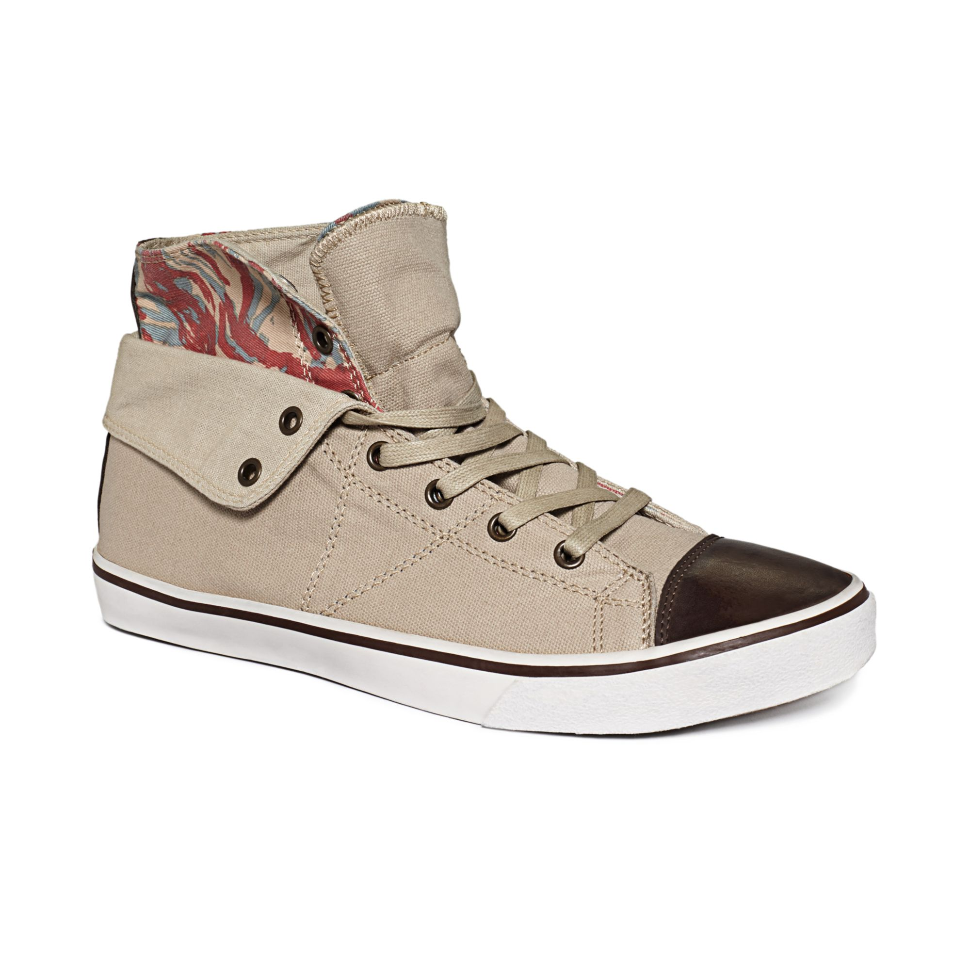 guess mens shoes mat hitop sneakers in beige for sand