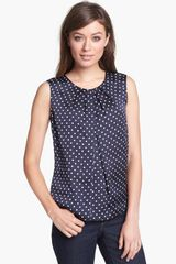 Jones New York Abby Dotted Pleat Neck Blouse - Lyst