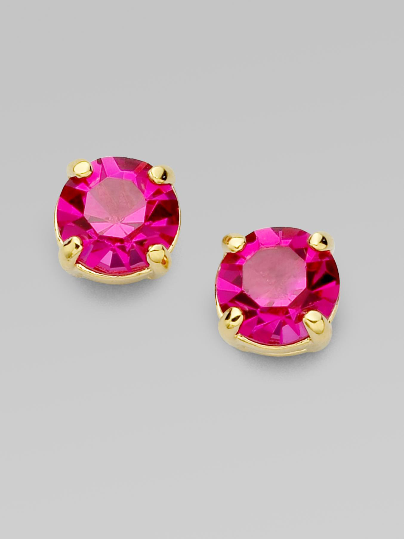 stud sparkle jewelry spade product new pink york gallery in kate earrings lyst faceted round