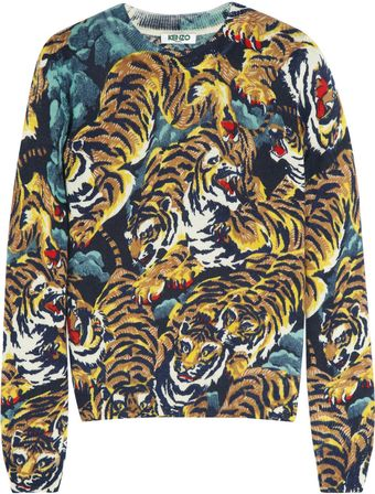 Kenzo Tiger Jungle-print Wool Sweater - Lyst