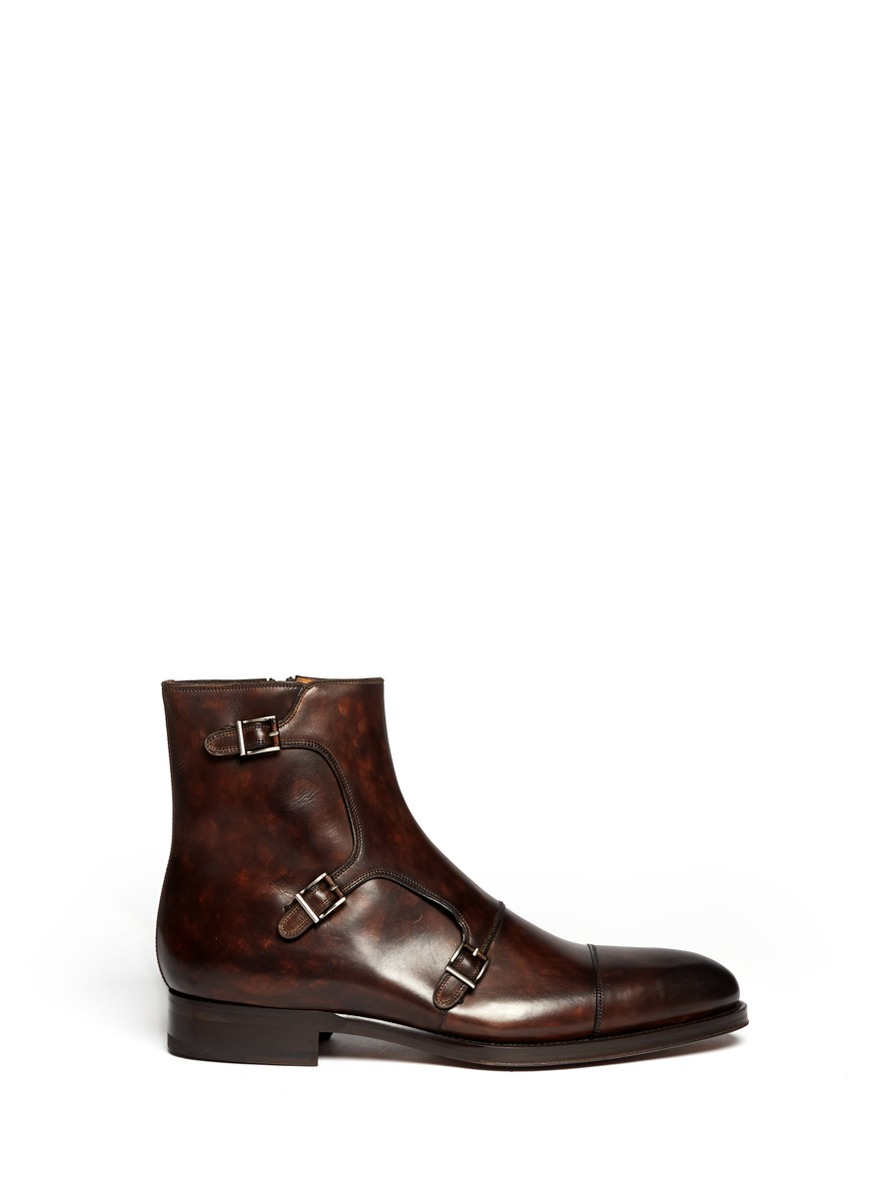 Lyst Saks Fifth Avenue Leather Monk Strap Buckle Boots