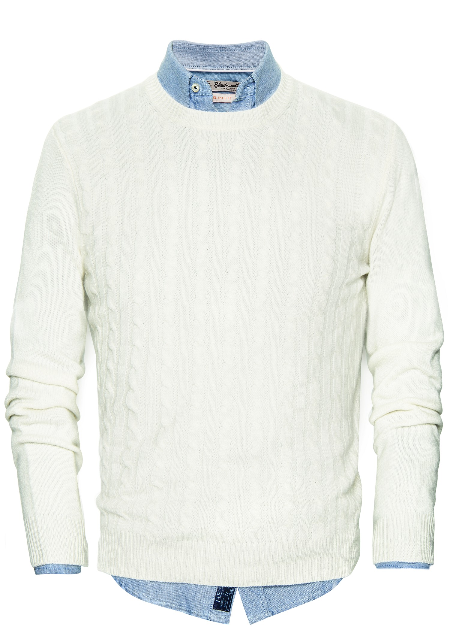 Lyst Mango Cableknit Cashmere Sweater In White For Men