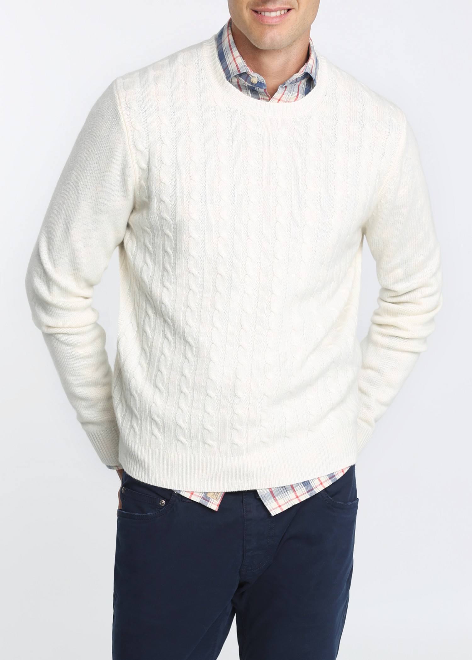 Mango Cableknit Cashmere Sweater in White for Men | Lyst