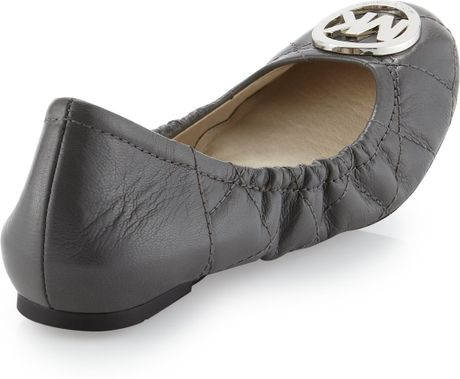 Michael Michael Kors Fulton Quilted Ballerina Flat In Gray