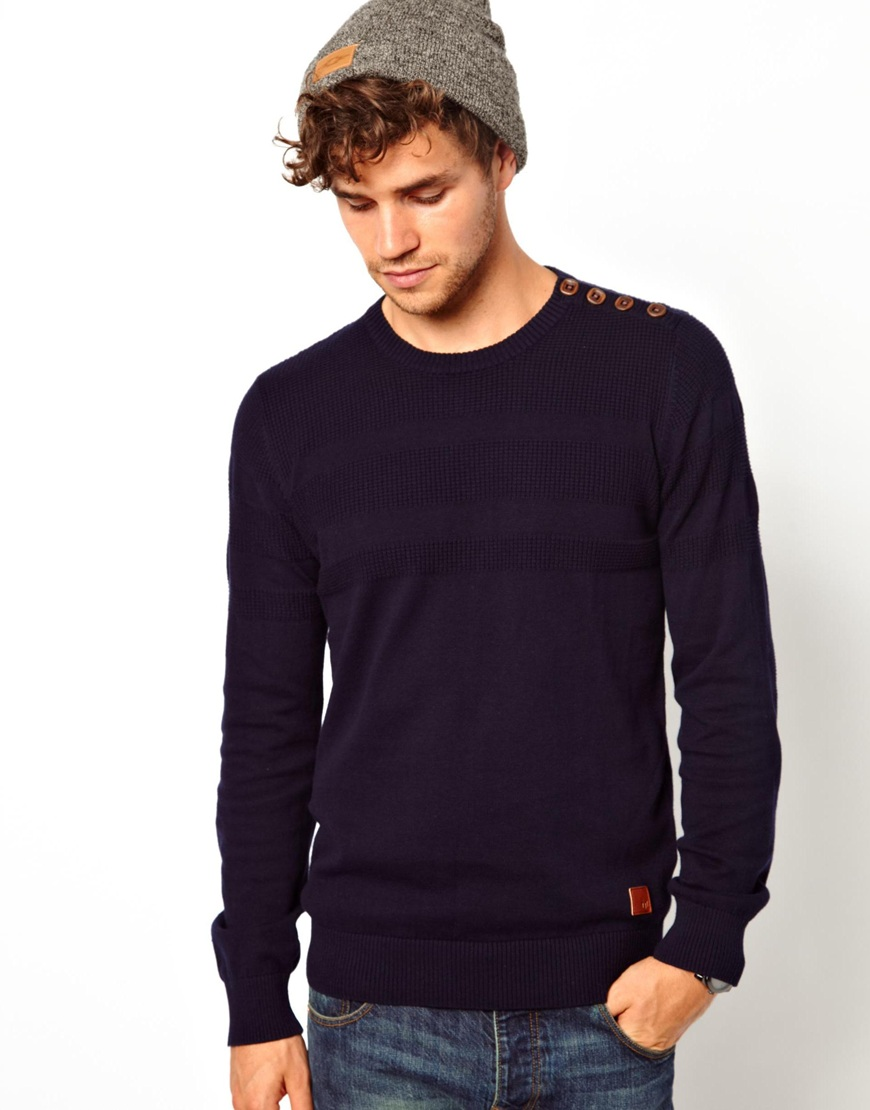 Fred perry Minimum Sweater with Button Shoulder in Blue for Men | Lyst